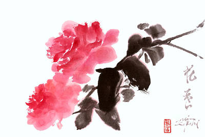 Painting - Pink Roses by Nadja Van Ghelue
