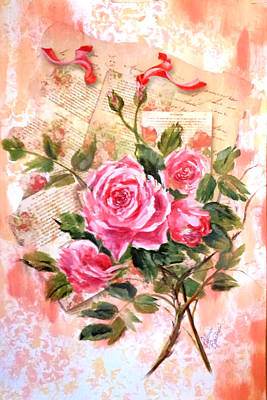 Pink Roses On Vintage Letters Art Print
