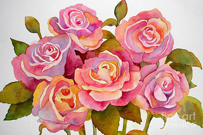 Watercolor Floral Painting - Pink Roses by Wendy Westlake