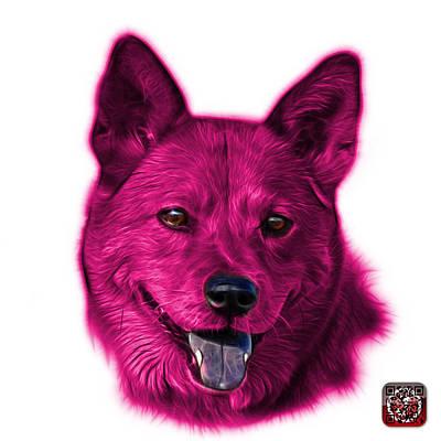 Mixed Media - Pink Shiba Inu Dog Art - 8555 - Wb by James Ahn