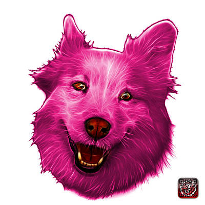 Painting - Pink Siberian Husky Mix Dog Pop Art - 5060 Wb by James Ahn