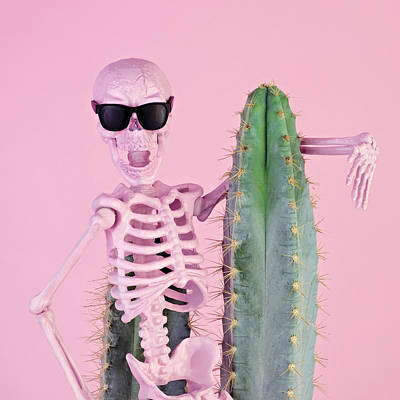 Photograph - Pink Skeleton With Cactus by Juj Winn