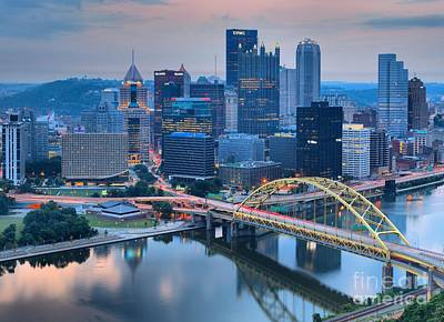 Photograph - Pink Skies And Pittsburgh Skyscrapers by Adam Jewell