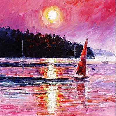 Pink Skies - Palette Knife Oil Painting On Canvas By Leonid Afremov Original by Leonid Afremov