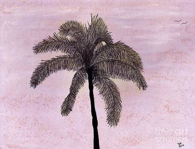 Beach Sunset Drawing - Pink - Sky - Palm by D Hackett