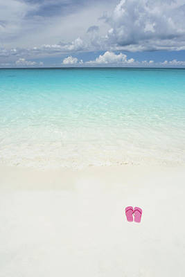 Clear Shoes Photograph - Pink Slippers On Beach by M Swiet Productions