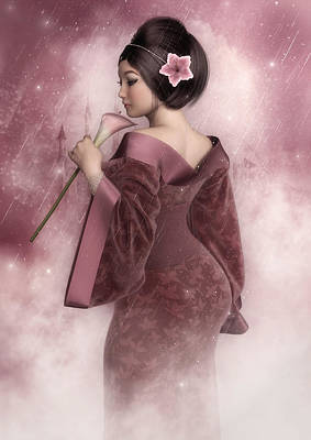 Digital Art - Pink Snow by Rachel Dudley
