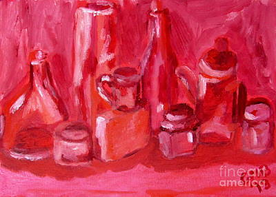 Boxes Painting - Pink Still Life by Greg Mason Burns