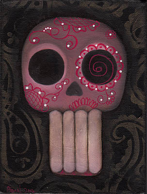 Painting - Pink Sugar Skull by Abril Andrade Griffith