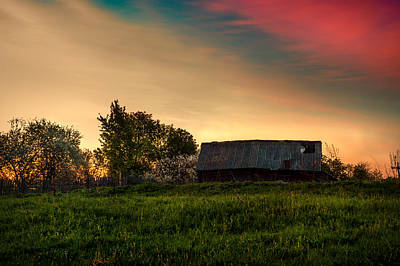 Photograph - Pink Sunrise. Old Barn An Cherry Blossom by Jenny Rainbow