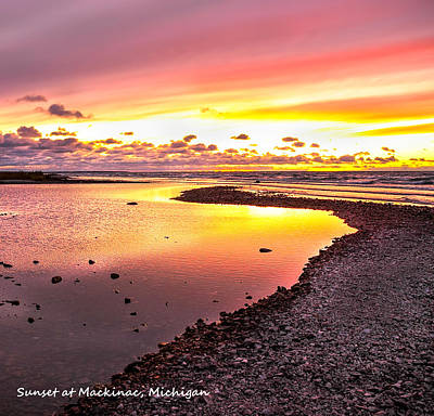 Photograph - Pink Sunset At Mackinac Michigan by LeeAnn McLaneGoetz McLaneGoetzStudioLLCcom