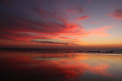 Art Print featuring the photograph Ocean Sunset Reflected  by Christy Pooschke
