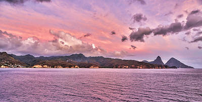 Photograph - Pink Sunset Cast On The Pitons In St. Lucia by Craig Bowman