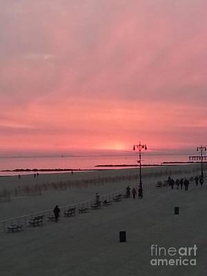 Pink Sunset Over Coney Island Art Print