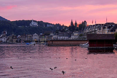 Photograph - Pink Sunset Over Lake Lucerne by Marilyn Burton