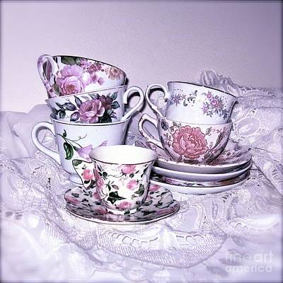 Photograph - Pink Tea Cups And Lace  by Nancy Patterson