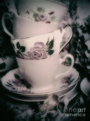 Photograph - Pink Tea Cups by Karen Lewis
