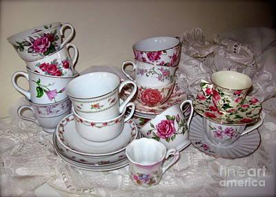 Photograph - Pink Tea Cups  by Nancy Patterson