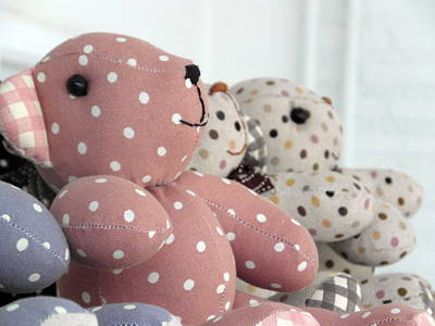 Tripple Photograph - Pink Teddy Bear And Friends by Ian Scholan