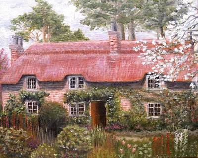 Pink Thatched Cottage Art Print by Diane Daigle
