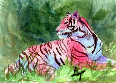 Painting - Pink Tiger Aceo by Brenda Thour