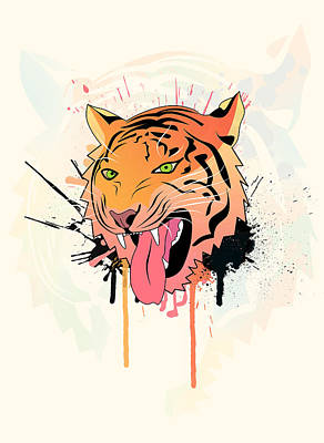 Macro Digital Art - Pink Tiger  by Mark Ashkenazi