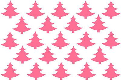 Christmas Tree Digital Art - Pink Trees by Chastity Hoff