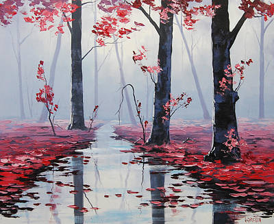 Salmon Wall Art - Painting - Pink Trees River Landscape by Graham Gercken
