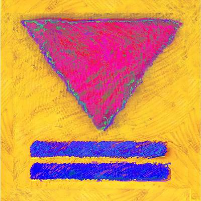 Pink Triangle On Yellow Art Print
