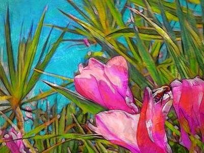 Digital Art - Pink Tropical Flower With Honeybee - Horizontal by Lyn Voytershark