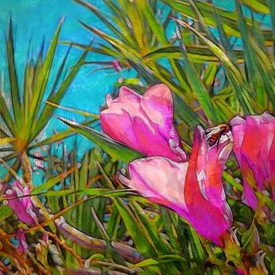 Digital Art - Pink Tropical Flower With Honeybee - Square by Lyn Voytershark