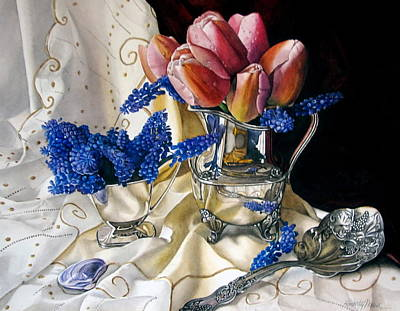 Silver Pitcher Painting - Pink Tulips And Grape Hyacinth by Kimberly Meuse