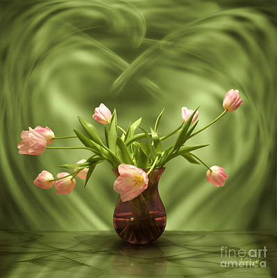 Pink Tulips In Green Room Art Print