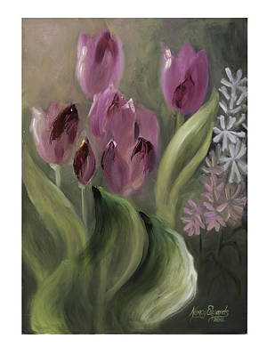 Pink Tulips Art Print by Nancy Edwards