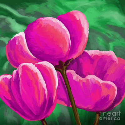 Painting - Pink Tulips On Green by Tim Gilliland