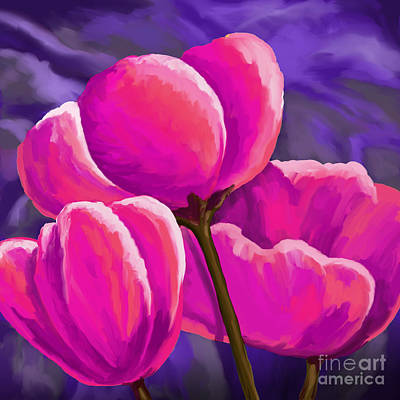 Painting - Pink Tulips On Purple by Tim Gilliland