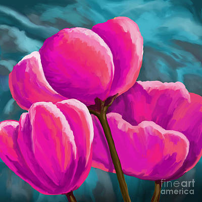 Painting - Pink Tulips On Teal by Tim Gilliland