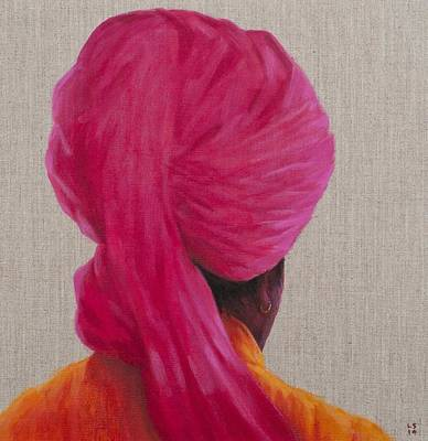 Earrings Photograph - Pink Turban, Orange Jacket, 2014 Oil On Canvas by Lincoln Seligman