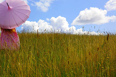 Pink Umbrella In The Meadow Art Print by Maggie McCall