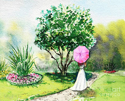 Walking Away Painting - Pink Umbrella by Irina Sztukowski