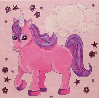 Painting - Pink Unicorn by Anne Gardner