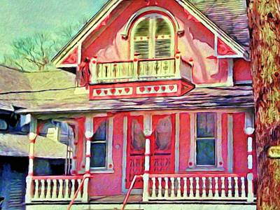 Painting - Pink Victorian Cottage - Horizontal by Lyn Voytershark