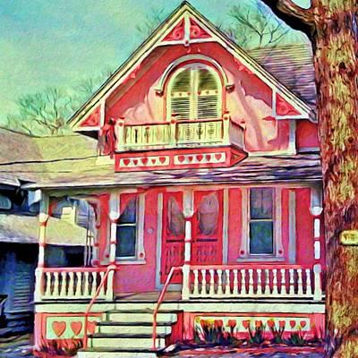 Digital Art - Pink Victorian Cottage - Square by Lyn Voytershark