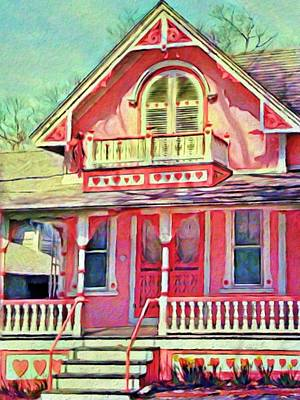 Digital Art - Pink Victorian Cottage - Vertical by Lyn Voytershark