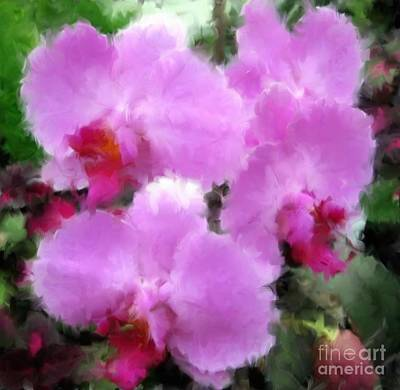 Photograph - Pink Violet Orchids With Oil Paint Effect by Rose Santuci-Sofranko