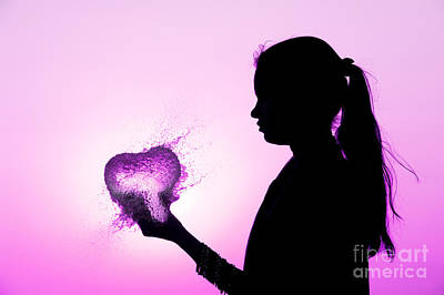 Bursting Photograph - Pink Water Heart by Tim Gainey