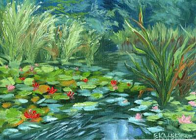 Painting - Pink Water Lilies by Ekaterina Chernova