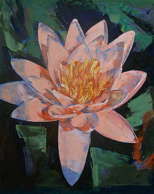 Lilly Pond Painting - Pink Water Lily by Michael Creese