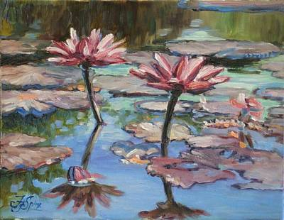 Flower Painting - Pink Waterlillies by Irek Szelag