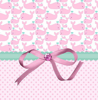 Shower Digital Art - Pink Whales by Debra  Miller